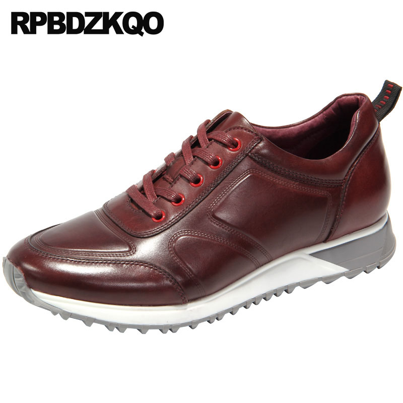 4ab08585924e6 genuine leather solid casual european trainers sneakers luxury men shoes  italy brand comfort burgundy high quality runway spring