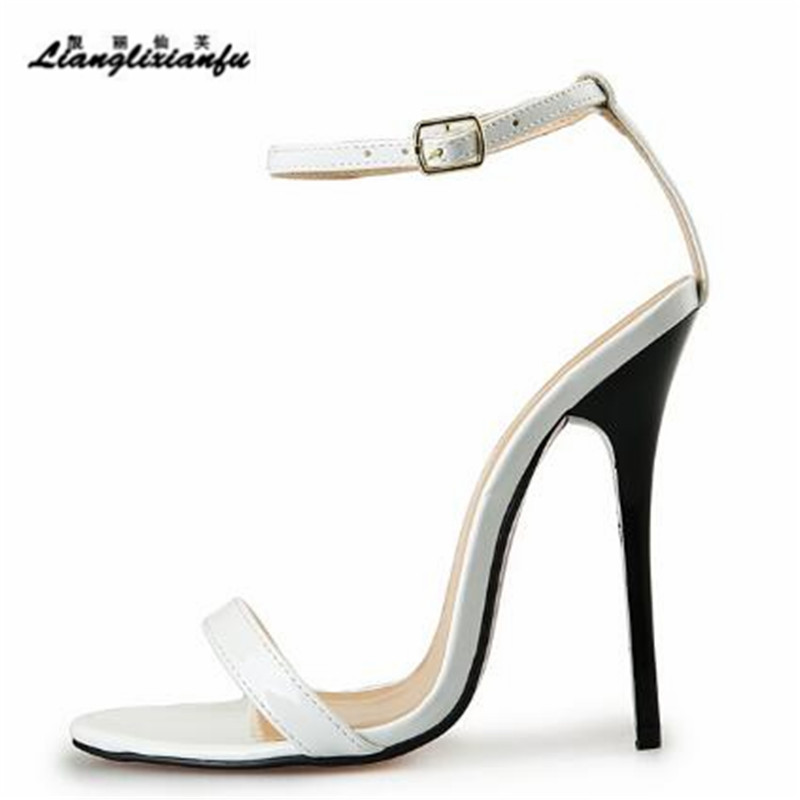 LLXF Plus:40-45 46 47 48 49 50 wholesale summer sexy 13cm thin high-heeled women's shoes red Patent Leather lady Buckle sandals