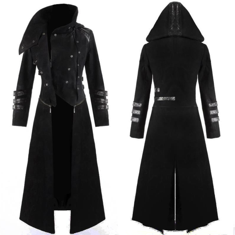 New Scorpion Mens Coat Long Jacket Gothic Steampunk Hooded Trench Medieval Cosplay Costume Halloween Plus 5xl Adult Women Men