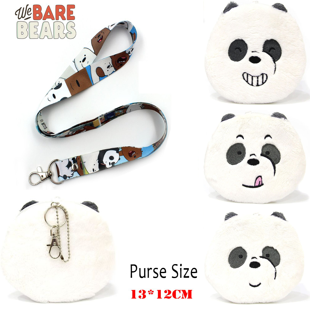 Giancomics Hot We Bare Bears Anime Plush Purse Lanyard Wallet Cartoon Fashion Money Convenient Zero Purse Cool Holder Otaku Gift