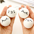 Brand new Different Parten Cute Cartoon Face Squishy Buns Bag Key Mobile Phone Straps Pendant 4.5cm Chain for Cellphones