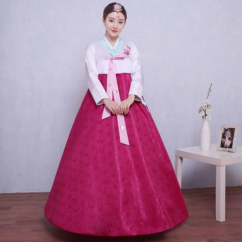 Multicolor señora grande kroean danza minoría traje corte tradicional ...