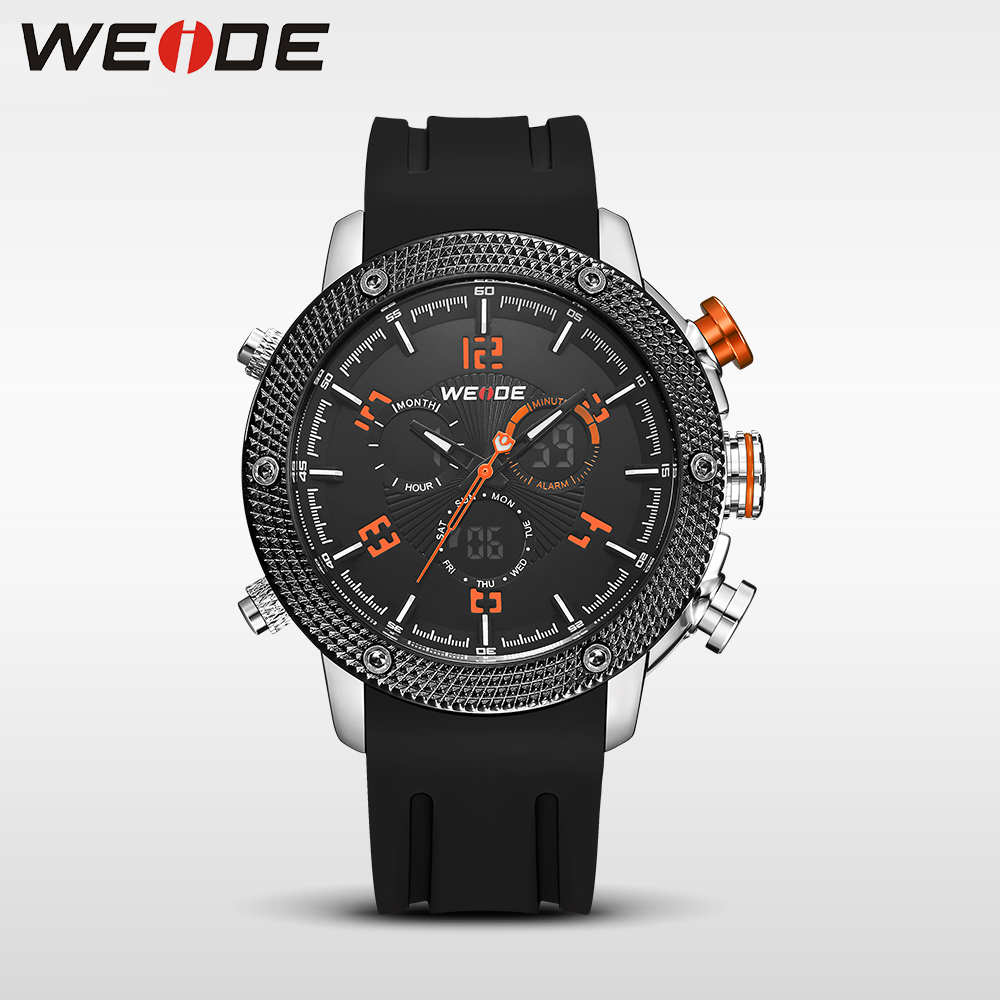 WEIDE Casual genuin  Brand  Watch Men Sport Back Light Quartz Digital Alarm Silicone Waterproof  Wristwatch Multiple Time Zone weide 2017 new men quartz casual watch army military sports watch waterproof back light alarm men watches alarm clock berloques
