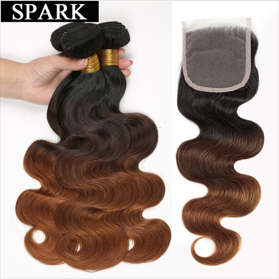 Spark Ombre Peruvin Body Wave Human Hair Bundles with Lace Closure Middle Part Remy Hair Weave