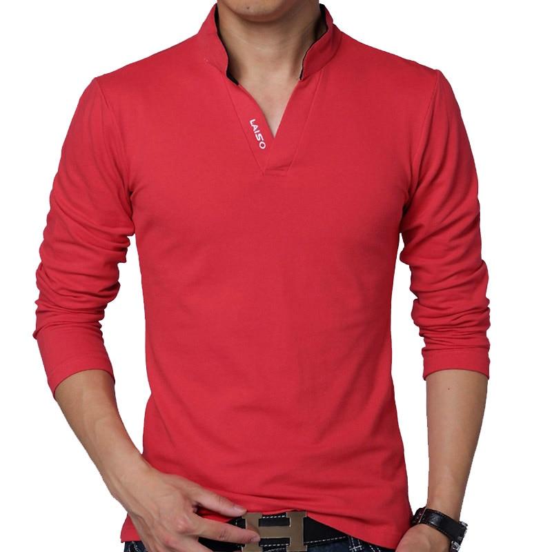 뜨거운 판매 2019 새로운 패션 브랜드 남자 의류 단색 긴 소매 슬림 맞는 T 셔츠 남성 코튼 T - 셔츠 캐주얼 T 셔츠 플러스 크기