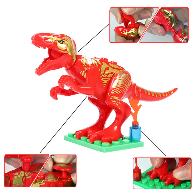 Oenux New 12PCS Jurassic Dinosaur Figures Building Block T-Rex Indomirus Pterosauria Triceratop Dinosaurs Animal World Brick Toy 5