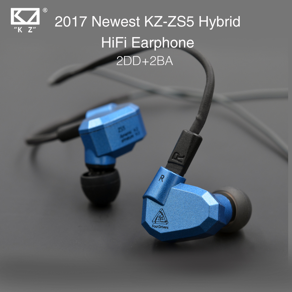 2017 New Original KZ ZS5 2DD+2BA Hybrid In Ear Earphone HIFI DJ Monito Running Sport Earphones Earplug Headset Earbud Two Colors in stock zs5 2dd 2ba hybrid in ear earphone hifi dj monito bass running sport headphone headset earbud fone de ouvid for xiomi