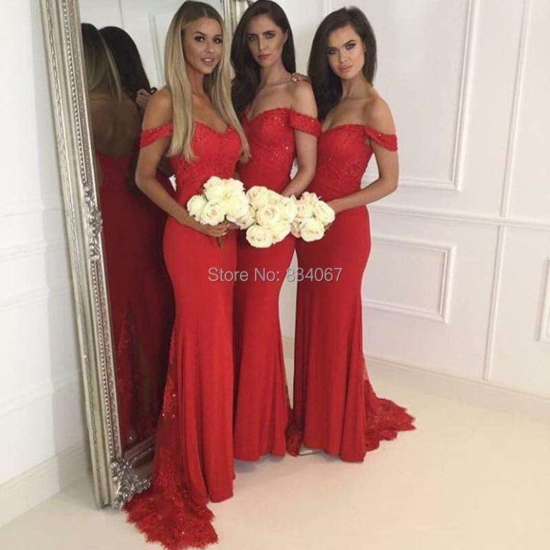 85cfb807e0 Hermoso Color Rojo de dama de Honor Vestidos de Novia 2017 Sirena de Boda  Invitado a la Fiesta Vestidos con Mangas de Encaje Sexy Lentejuelas  Vestidos ...
