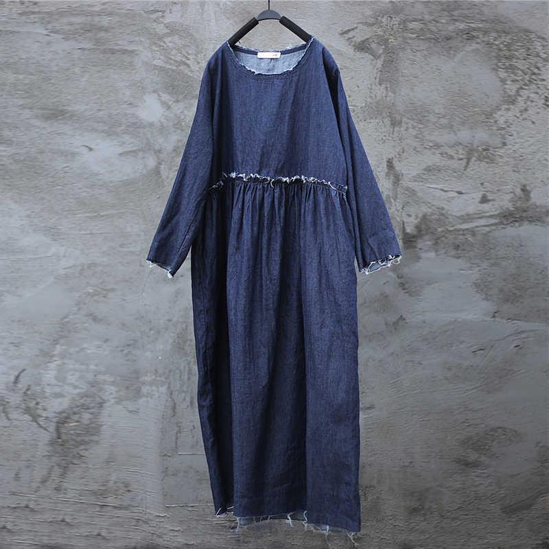 Женское простое джинсовое платье Johnature, длинное однотонное свободное повседневное с высокой талией, с лоскутным шитьем и круглым вырезом, хлопчатобумажное, для весны, 2019