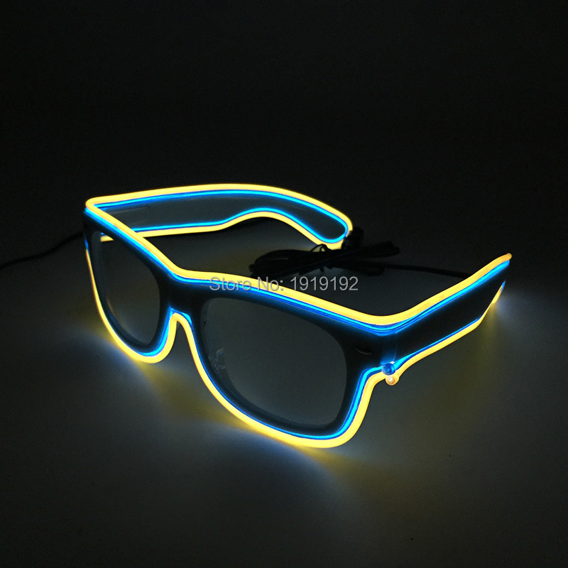 Double Colors El Wire Glowing Glasses Bright Light Safety Light Up Multicolor led flashing glasses By 3V Sound Active Driver ...