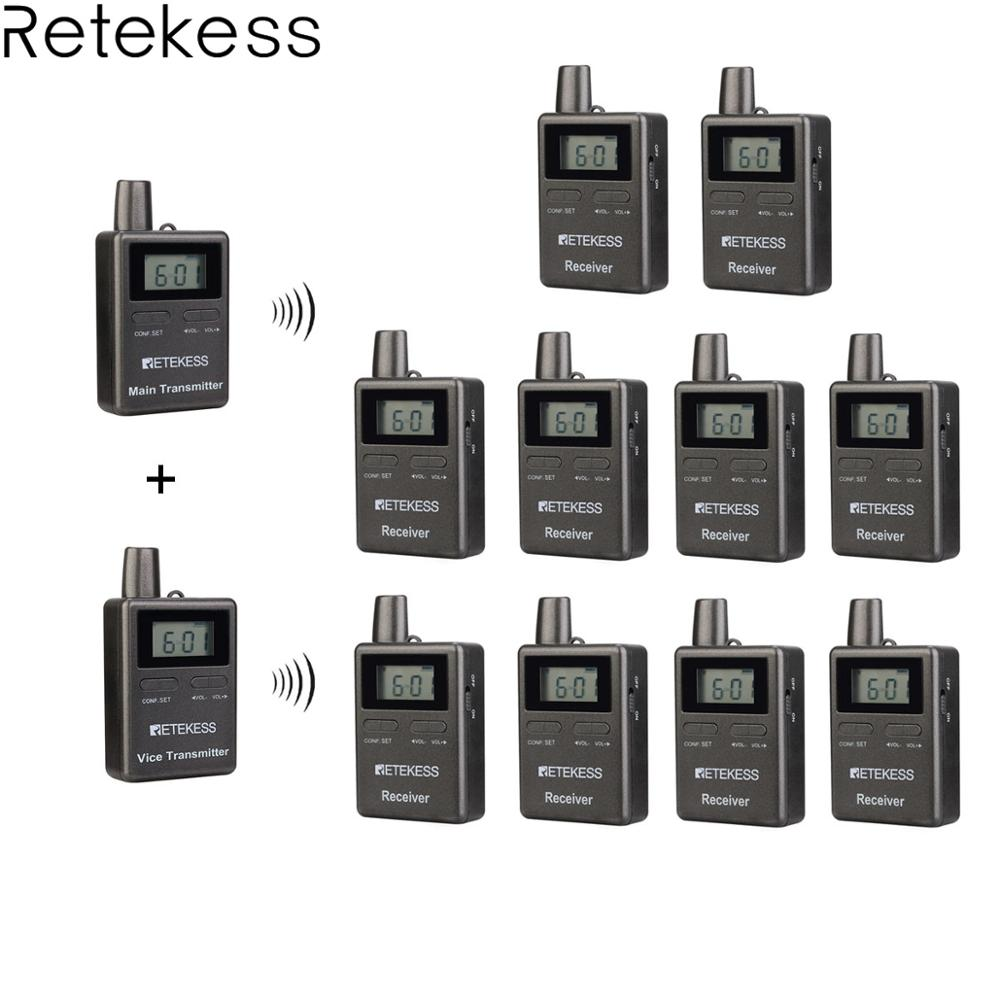 Retekess TT105 2.4GHz Professional Wireless Tour Guide System 2 Transmitter+10 Receiver For Traveling Museum Visit Conference
