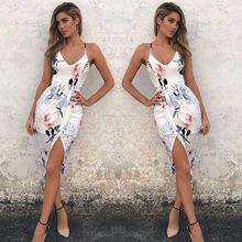 Summer Dresses HOT Women Sexy Boho Floral Sleeveless V-Neck Slim High Waist Split Midi Strap Dress
