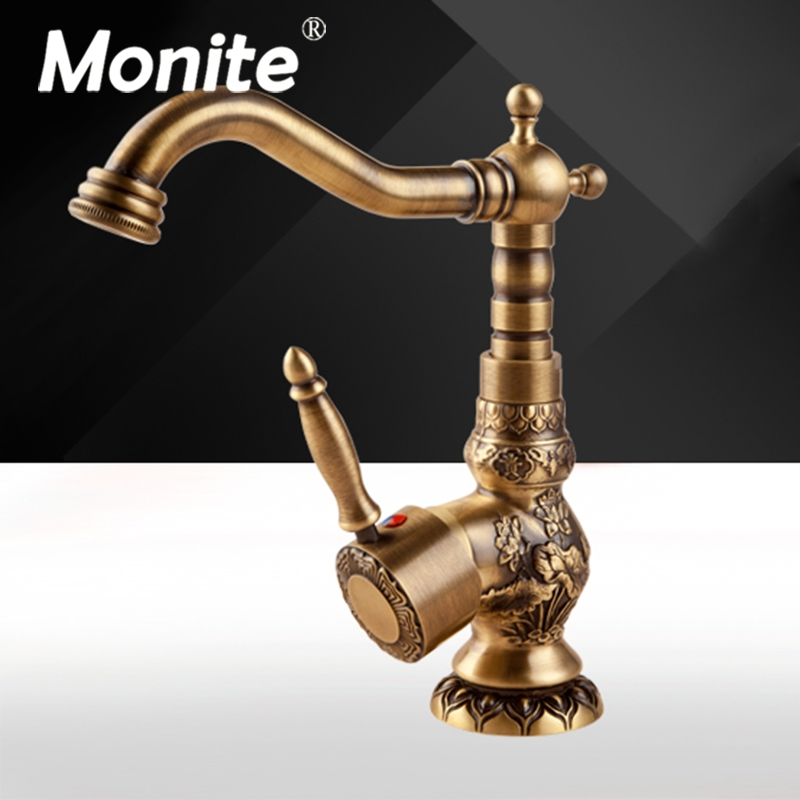 360 Swivel Kitchen Faucets Antique Brass Mixer Tap Bathroom Basin Mixer Hot Cold Tap Ceramic