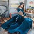 Женское шерстяное синее платье Мода 2017 Осень Зима рукав лотоса кружева вышивка бабочка сладкое женское платье