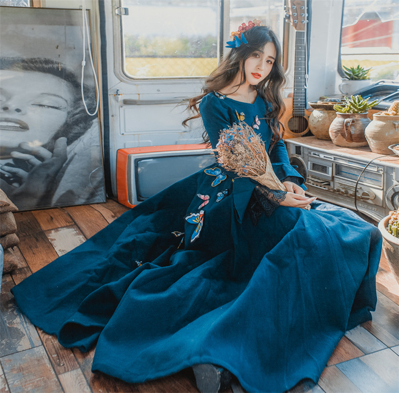 Women Wool Blue Dress Fashion 2017 Fall Winter Lotus Sleeve Lace Embroidery Butterfly Sweet Women Dress
