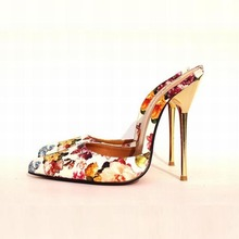 Plus größe 40-49 Hohe Qualität Sexy Spitz Schuhe Frauen High Heels Geschlossene Zehe Hausschuhe Print Floral Sandalen Sommer damen pumpe
