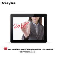 Obeytec 15 inch Industrial Capacitive Open Frame LCD Touch Monitor, PCAP touch screen, 10 Points Touch, IP65, Vandal Proof, Driv