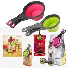 Pet Folded Dog Cat Feeders Bowl Food Scoop Spoon Sealing Clipper Storage Supplies Collapsible Doggie Snack Cup