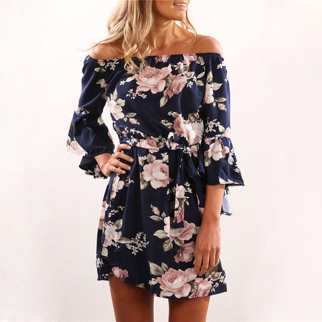Women Dresses 2018 Summer Sexy Off Shoulder Floral Print Chiffon Dress Short Party Boho Beach Dress Sundress Vestidos de fiesta