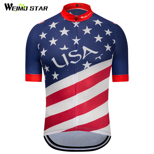 637026f87 Weimostar 2018 USA Flag Cycling Clothing National Pro Team Cycling Jersey  Short Sleeve Men Race Bicycle