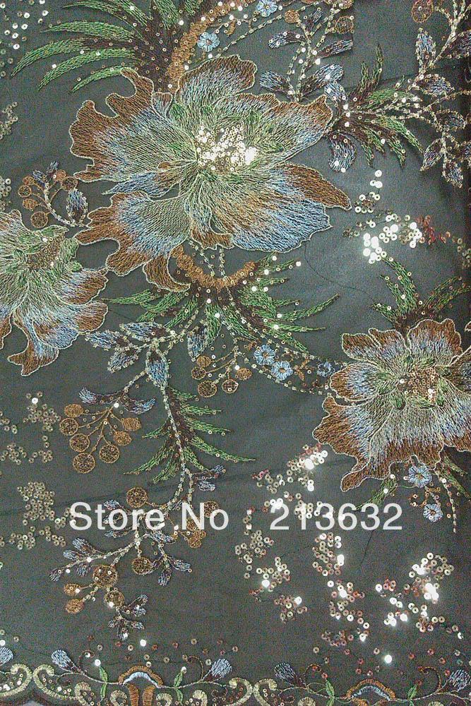 krajka halenka ukázat šaty tkanina květiny horký zelený žlutý - Umění, řemesla a šití