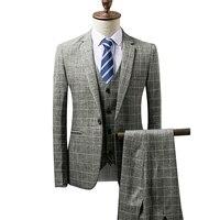 Suit three piece suit (blazer + vest + pants) business England plaid slim men's autumn suits banquet dress male suits