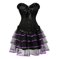 Sexy Burlesque Corsets for Women Lingerie Dancing Dress Black Steampunk Bustier Corset with Mini skirt Gothic Corset Dress S 6XL