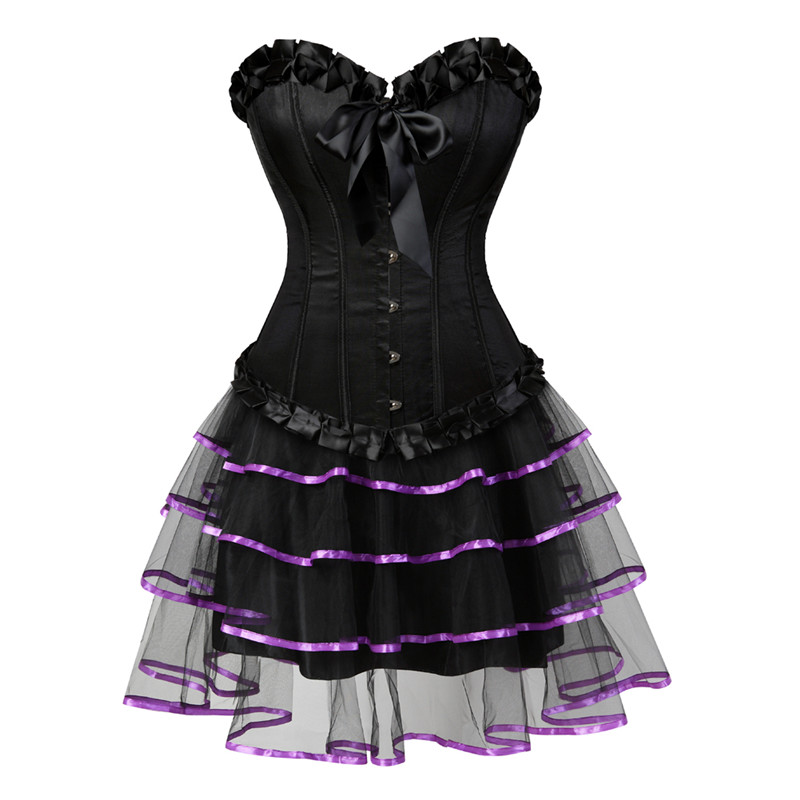 Sexy Burlesque   Corsets   for Women Lingerie Dancing Dress Black Steampunk   Bustier     Corset   with Mini skirt Gothic   Corset   Dress S-6XL
