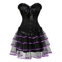 Sexy Burlesque Corsets for Women Lingerie Dancing Dress Black Steampunk Bustier Corset with Mini skirt Gothic Corset Dress S 6XL