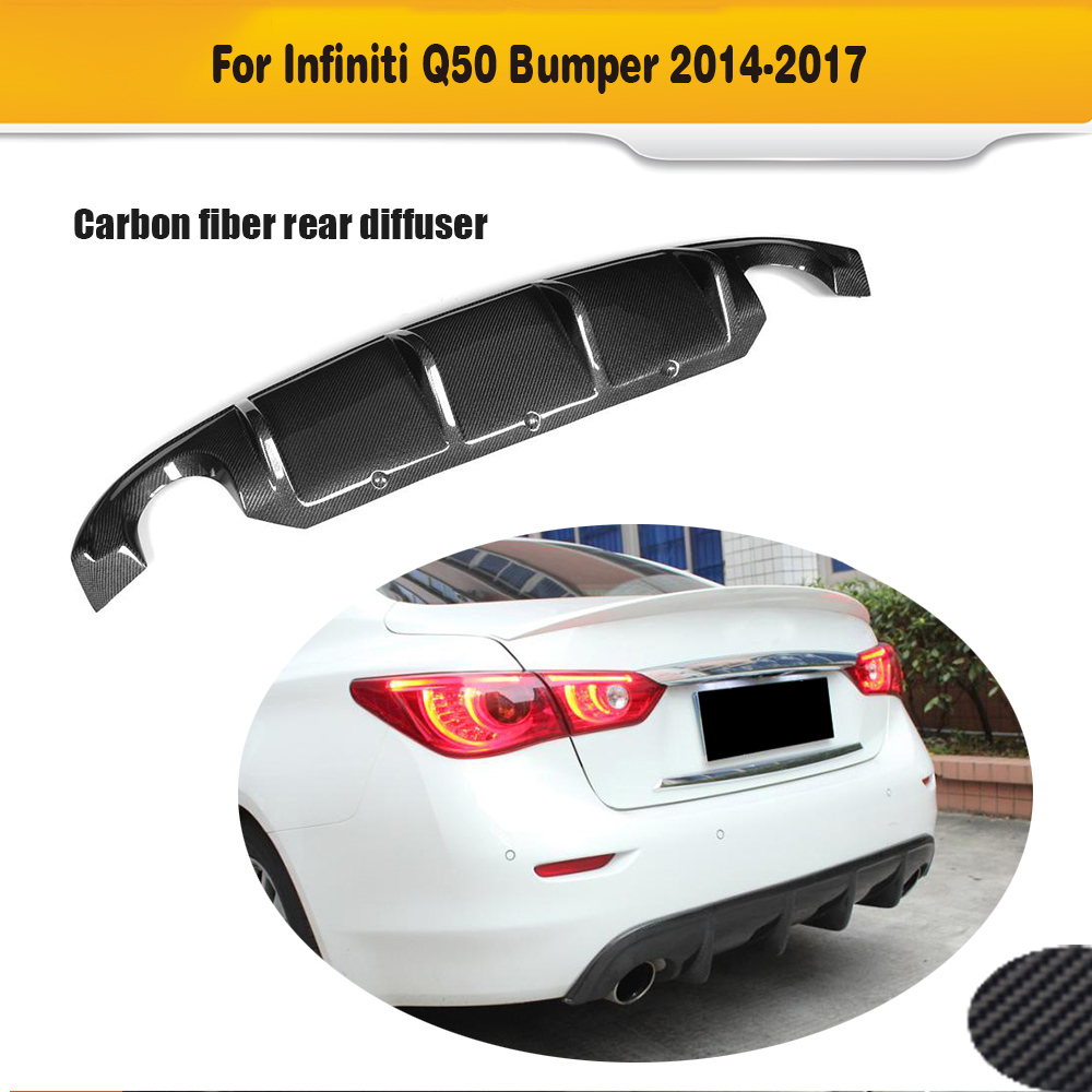 Carbon Fiber Add on Car Rear Bumper Diffuser lip Spoiler For Infiniti Q50 Black PU 2013 - 2017 carbon fiber car rear bumper extension lip spoiler diffuser for bmw x6 e71 e72 2008 2014 xdrive 35i 50i black frp