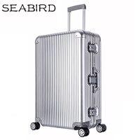 SEABIRD 202629100% Aluminum Magnesium Alloy Rolling Luggage Mens Business Trolley Suitcase Full Metal Travel Case Women Rose