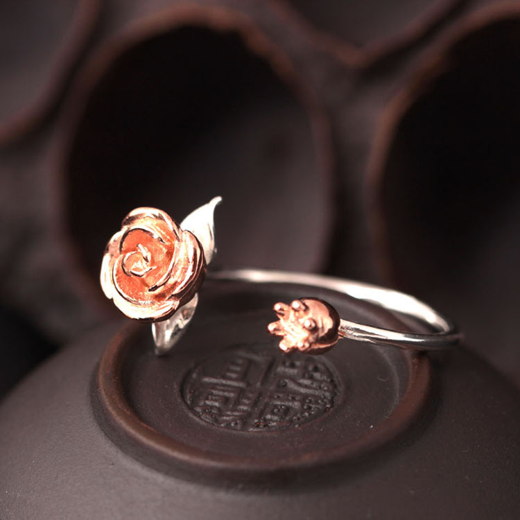 925 Sterling Silver Rose Flower Open Rings For Women High Quality Fashion Style Lady Gift Prevent Allerg Sterling-silver-jewelry