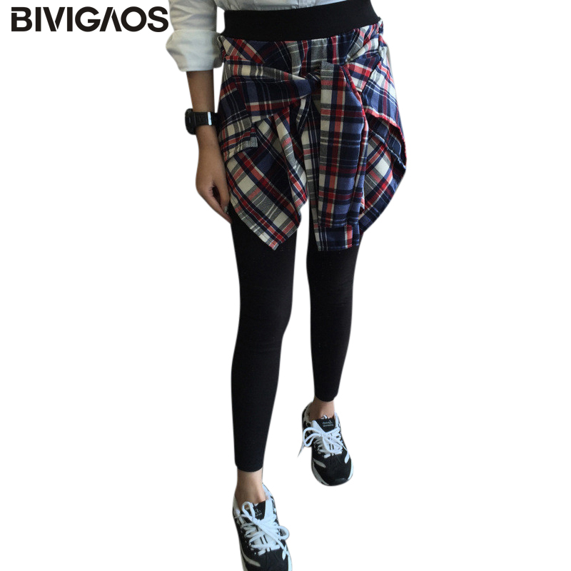 BIVIGAOS Korean Women's Cotton Casual Fake Two Piece Plaid Shirt Leggings Gothic Bottom Skirt Pants Workout Leggings Women