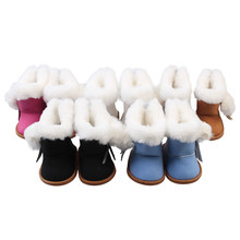 Pink/White/Black/Blue/Brown Winter Snow Boot Doll Shoes For 18 inch American Doll For Baby Girl Gift Doll Accessories(China)