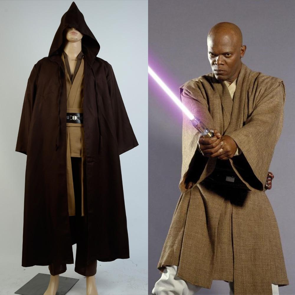 Star Wars Obi Wan Kenobi Jedi Cosplay Costume New Tunic Brown Cloak Jedi Cosplay Full Set Uniform Halloween Carnival Full Set