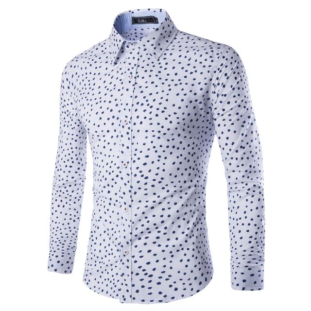 Nuevo 2016 de Impresión de la Marca Los Hombres Camisa de Manga Larga Camisa Delgada Fit Casual Shirts hombres Ropa Casual Camisa Masculina Tamaño M-XXL 9128