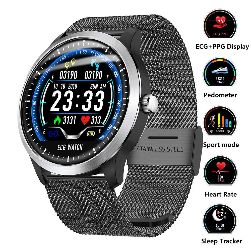 Montre intelligente ECG PPG Fitness Tracker montre fréquence cardiaque tension artérielle montre électrocardiographe affichage pour Samsung Xiaomi