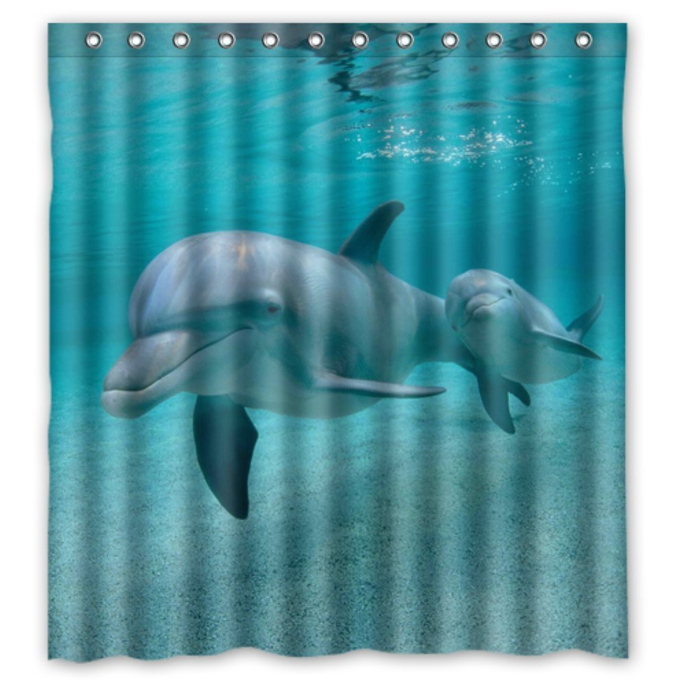 Bathroom Shower Curtains Dolphins Swim 180x180cm Eco Friendly Waterproof  Fabric Shower Curtain(China (