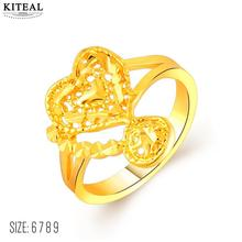 floating charms 24K GP gold Color ring Love heart finger ring for women size 6 7 8 9 anel de ouro Wholesale