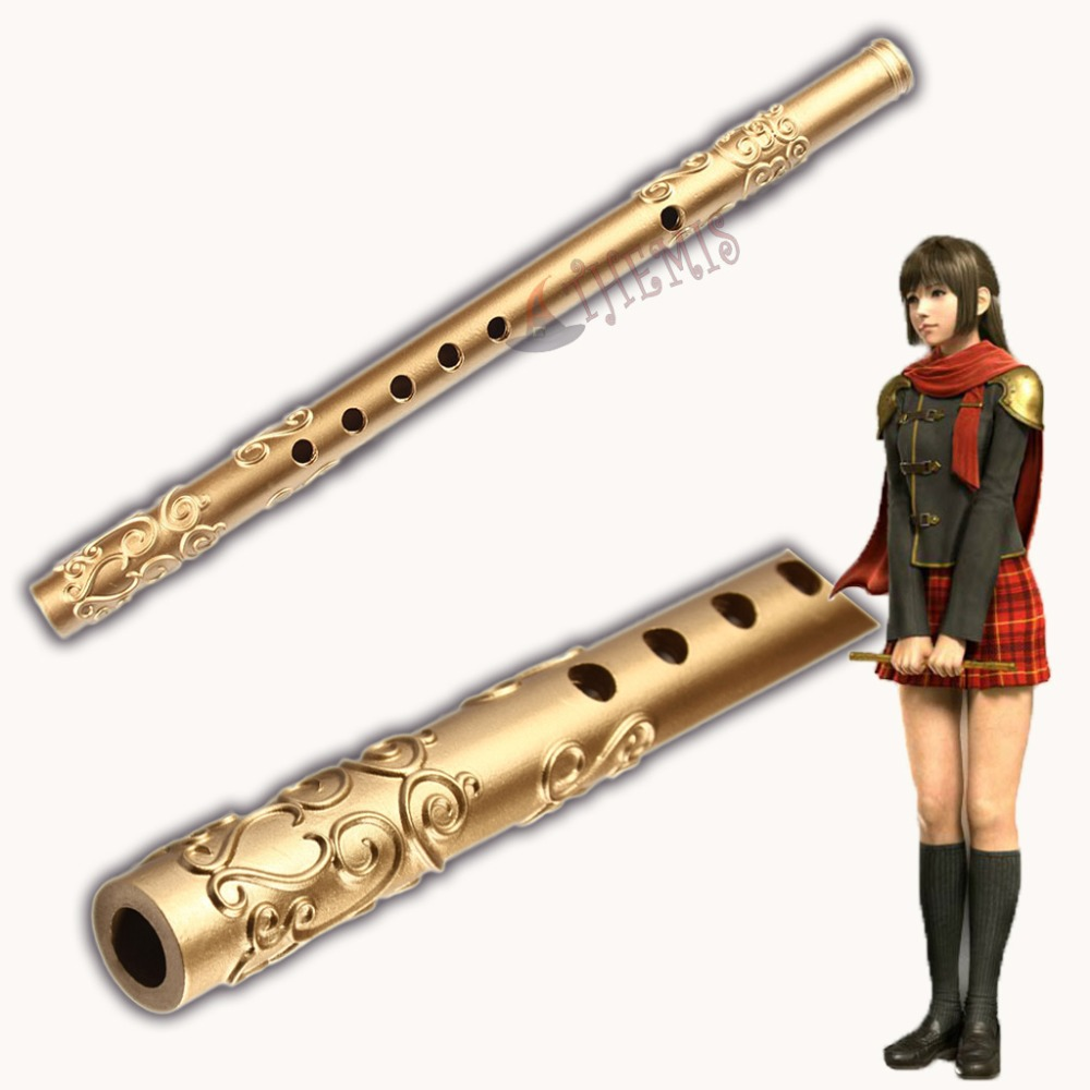 Athemis Anime Flute Prop Final Fantasy Type-0 Deuce Cosplay Prop Golden Figure Pu Resin Toys High Quality Artwork Cleaning The Oral Cavity. Costume Props Costumes & Accessories