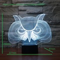 Owl 7 Colors Change and 3d Visualization Touch Botton Desk Lamp Table Light visual light Atmosphere lamp best christmas gift