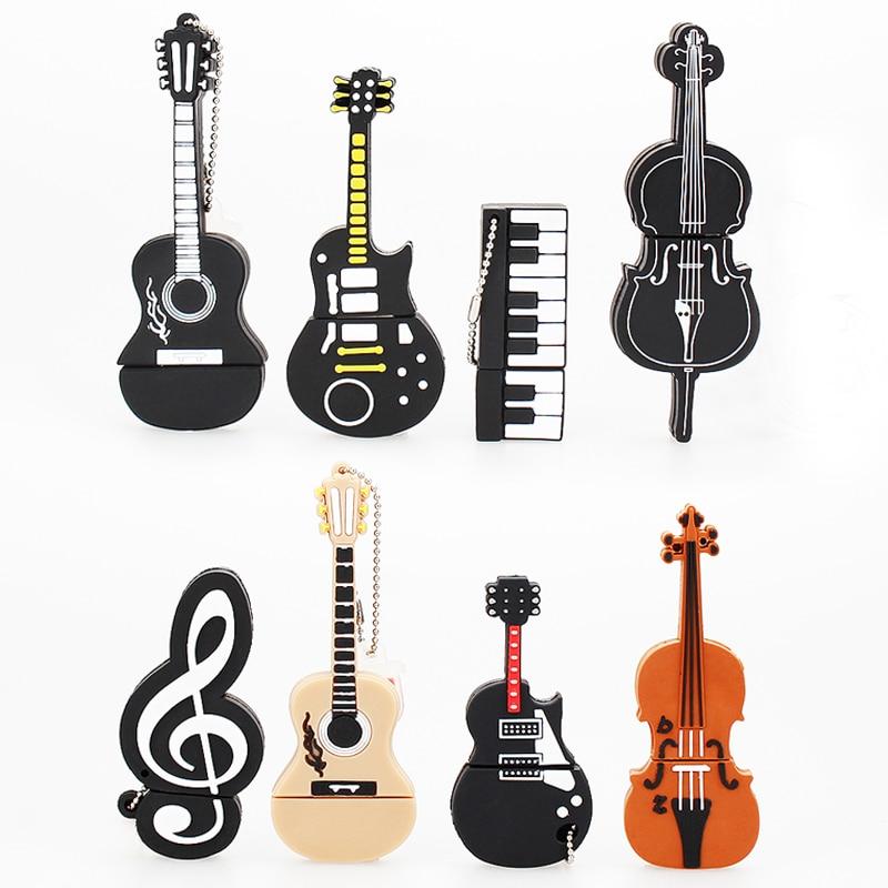 Musique Pendrive 128gb stylo lecteur 64gb créatif dessin animé guitare violon usb lecteur Flash cadeau USB 2.0 usb mémoire bâton livraison gratuite