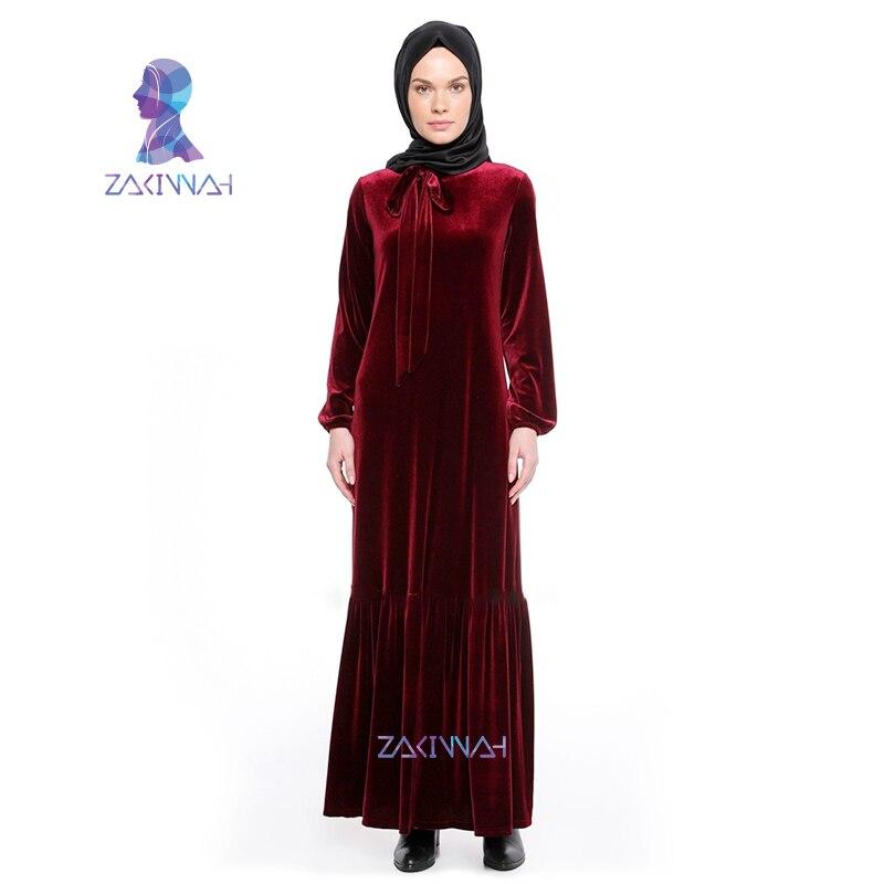 New Arab Muslim Women's Big Yards Long Dress Velvet Loose Robes Saudi Arabia Turkey Characteristics Casual Long Sleeve