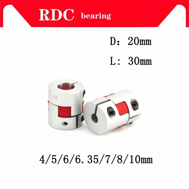 High quality 1PCS Flexible plum clamp coupler D20 L30 shaft size CNC Jaw shaft coupling 4/5/6/6.35/7/8/10mm 5mm 8mm D20L30 цена