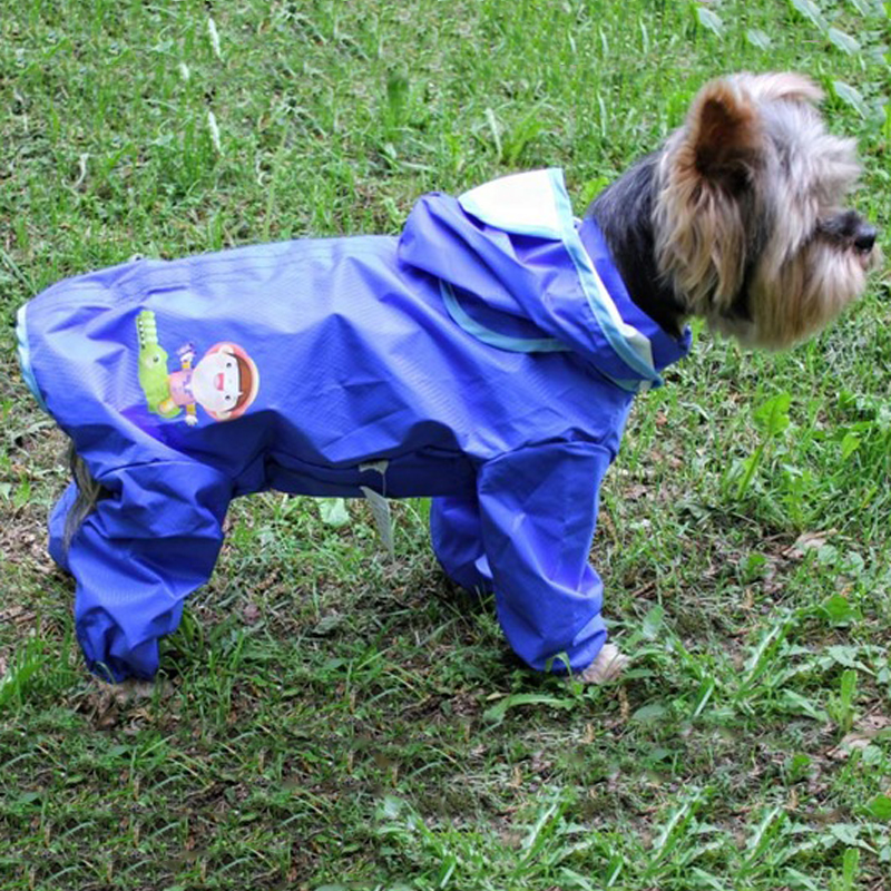 Pet Dog Raincoat Jumpsuit Overalls Cloak For Small Medium Dogs Waterproof Clothes Puppy Removable Hooded Rain Coat Yorkshire Pug