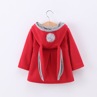 Girls Hooded Sweatshirt Children Spring And Autumn Winter Cotton Rabbit Ears Children Coat