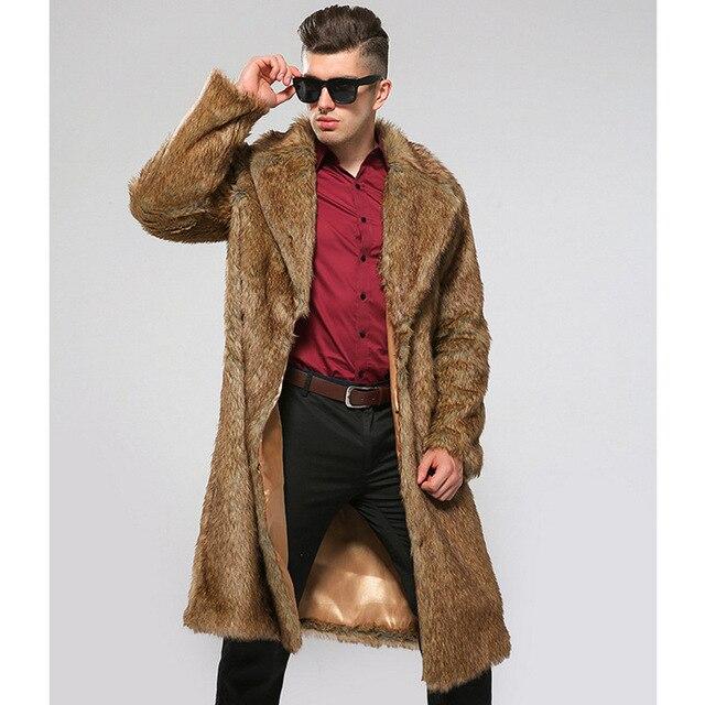 ofertas exclusivas obtener online otra oportunidad Chaquetas De piel falsa sección larga para Hombre Chaqueta Cuero invierno  otoño abrigo artificial S /6XL D376