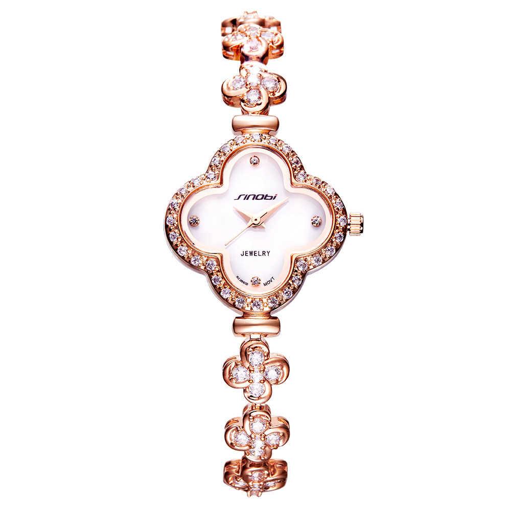 SINOBI, reloj de pulsera de cuarzo con forma de trébol de cuatro hojas de gama alta para mujer, reloj de joyería de mujer Noble de marca de lujo, reloj femenino