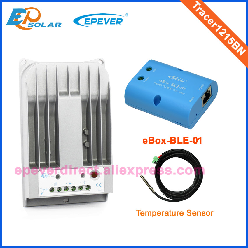 10A 10amps MPPT Solar controller EPEVER Tracer1215BN BLE BOX adapter and temp sensor 12V/24V auto work Mobile Phone APP