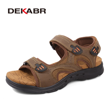 DEKABR Large Size Men Sandals Genuine Leather Male Summer Shoes Outdoor Leather Casual Shoes Fashion Breathable Slippers